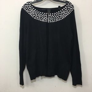 Lane Bryant crystal embellished black cardigan 14